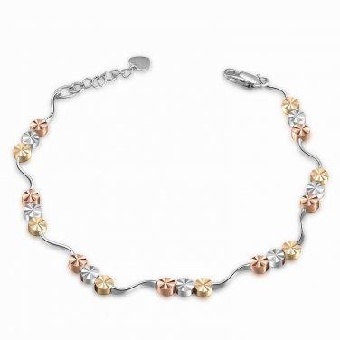"14K Yellow, Rose & White Gold Diamond-Cut Triple Beads Bracelet (6.5"") Women Jewelry Gift B05105B"