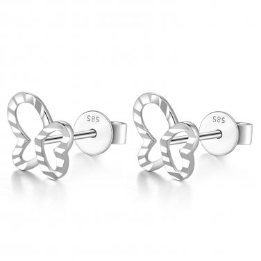 14K White Gold Tiny Hollow Diamond Cut Butterfly Stud Earrings, Girl Jewelry Gift C06418E