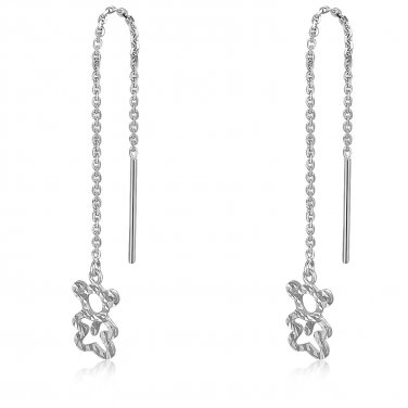 14K White Gold Diamond Cut Teddy Bear Drop Threader Link String Earrings C04798E