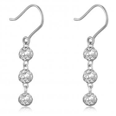 14K Italian White Gold Triple Diamond Cut Beads Ball Dangle Drop Hook Earrings C05400E