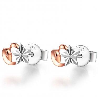 14K Italian Rose White Gold Heart Diamond Cut Star Stud Post Earrings Women Girl Jewelry C04755E