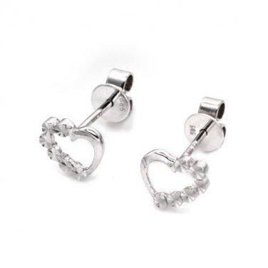14K White Gold Polished and Cutting Heart Stud Earrings, Women Girl Jewelry C05814E