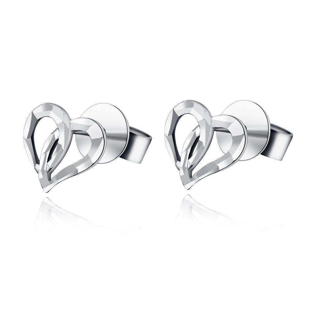 14K White Gold Diamond Cut Open Heart Stud Earrings, Women Girl Jewelry C05681E