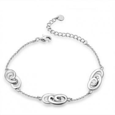 Hypoallergenic Platinum Plated 925 Sterling Silver Infinity Station Link Bracelet B05909B