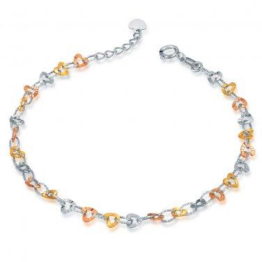 14K Tri-Color Gold Diamond-Cut Heart Bracelet, Women Girl Jewelry in Gift Box B05880B