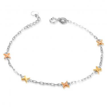 14K Italian Tri-Color Gold Diamond-Cut Crosses Bracelet, Women Girl Jewelry in Gift Box B06132B