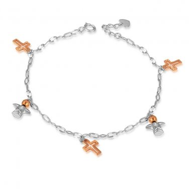 14K Rose White Gold Diamond-Cut Angel Cross Bracelet, Women Girl Jewelry in Gift Box C05618B