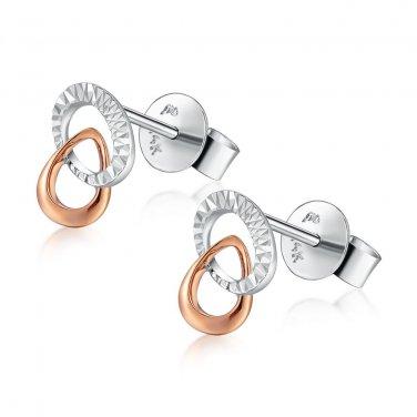 14K Italian Rose White Gold Diamond-Cut Double Hoop Stud Earrings, Women Girl Jewelry B04977E
