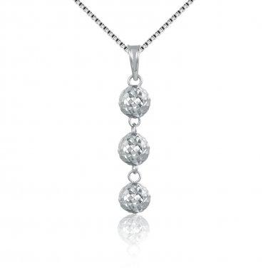 "14K Italian White Gold Triple Diamond-Cut Puff Balls Necklace (16""), Women Jewelry C05400P"