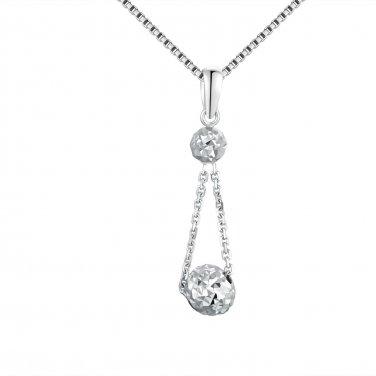 "14K Italian White Gold Double Diamond-Cut Link Puff Balls Necklace (16""), Women Jewelry C05449P"