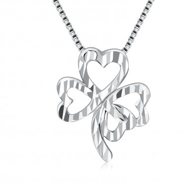 """14K Gold Lucky Four Heart Leaves Clover Necklace (16""""), Women Jewelry C05691P"""