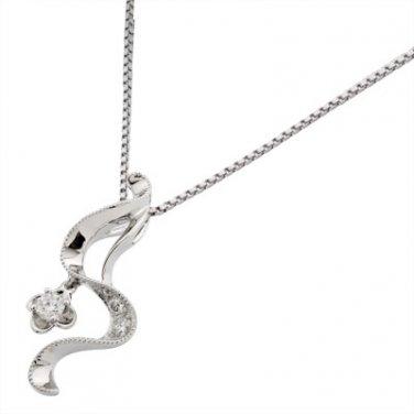 0.13cttw Diamond 18K White Gold Ribbon Clover Pendant 925 Chain, Valentines Women Gift N02971P