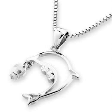 "14K White Gold Dolphin Diamond Cut Ball Pendant Necklace (16"") C04457P"