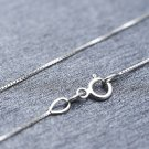 """18K Solid White Gold Classic Box Chain Necklace With Spring Ring Clasp, 16"""" A00111N"""