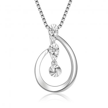 "14K White Gold Triple Drops Teardrop Necklace 16"" Jewelry Gift B05813P"