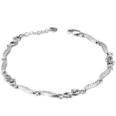 "14K White Gold Diamond-Cut Infinity Bracelet 6.5"" Jewelry Gift B05439B"