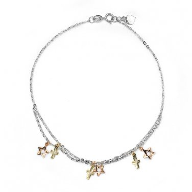 "14K Tri-Color Gold Diamond-Cut Stars Cross Station Anklet 8"" Jewelry C05392K"