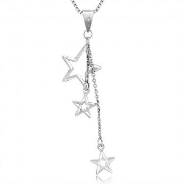"14K White Gold Polished Triple Stars Lariat Necklace 16"" Birthday C05087P"