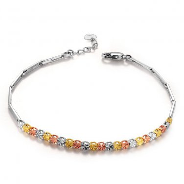 "14K Yellow Rose White Gold Diamond-Cut Beads Bracelet 6.5"" Gift B05088B"