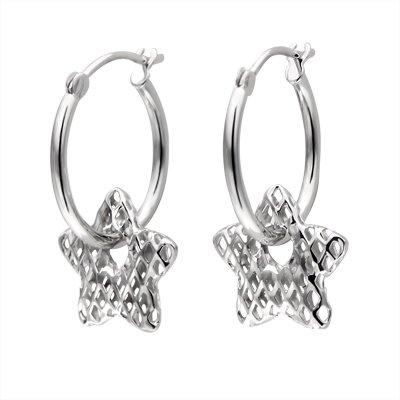 14K Italian White Gold Hammered Textured Star Hoop Earrings Jewelry Gift C04212E