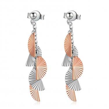 14K Italian Rose White Gold Japanese Folding Fan Design Earrings B06130E