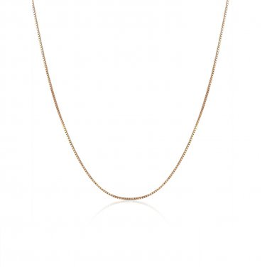 "18K Solid Rose Gold Classic Box Chain Necklace With Spring Ring Clasp, 16"" A00881N_KR"