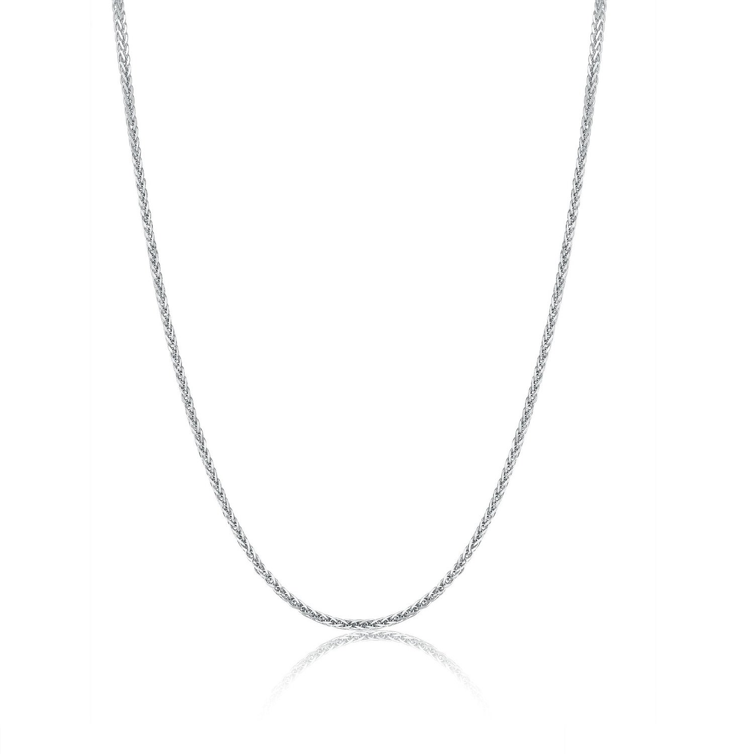 """18K Solid White Gold Round Wheat Chain Necklace w/ Spring Ring Clasp, 1mm, 16"""" A00187N"""