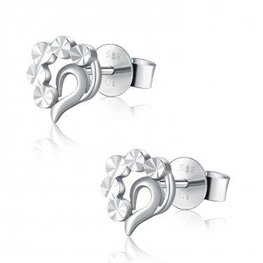 14K Italian White Gold Diamond-Cut Teardrop Heart Stud Earrings B05151E