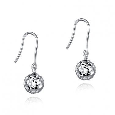 14K White Gold Diamond-Cut Ball Shepherd Hook Earrings, Women Girl Jewelry B04860E