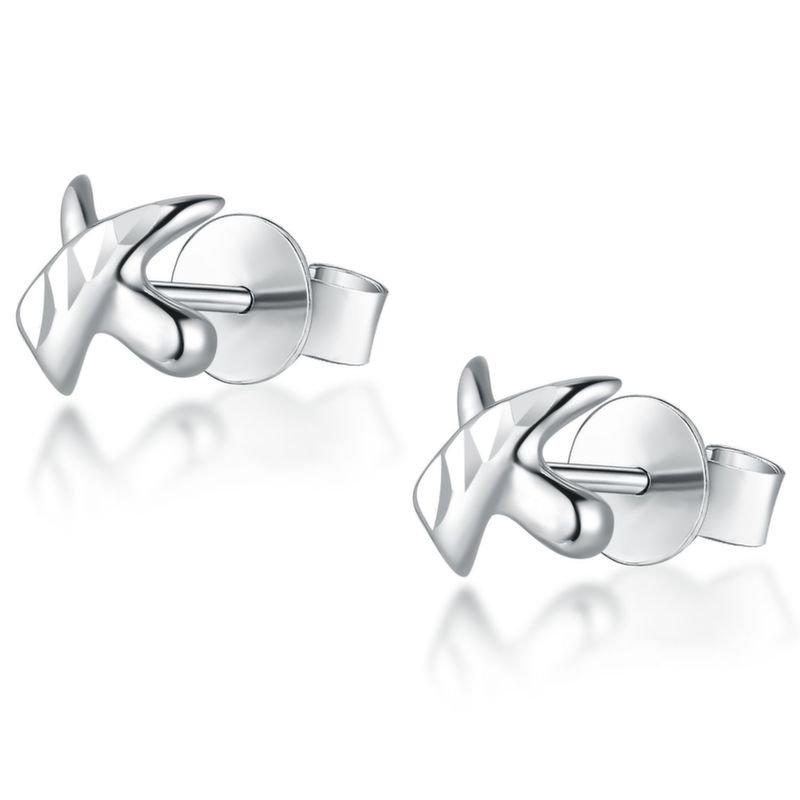 14K Italian White Gold Diamond-Cut Kiss Cross Stud Earrings B04913E