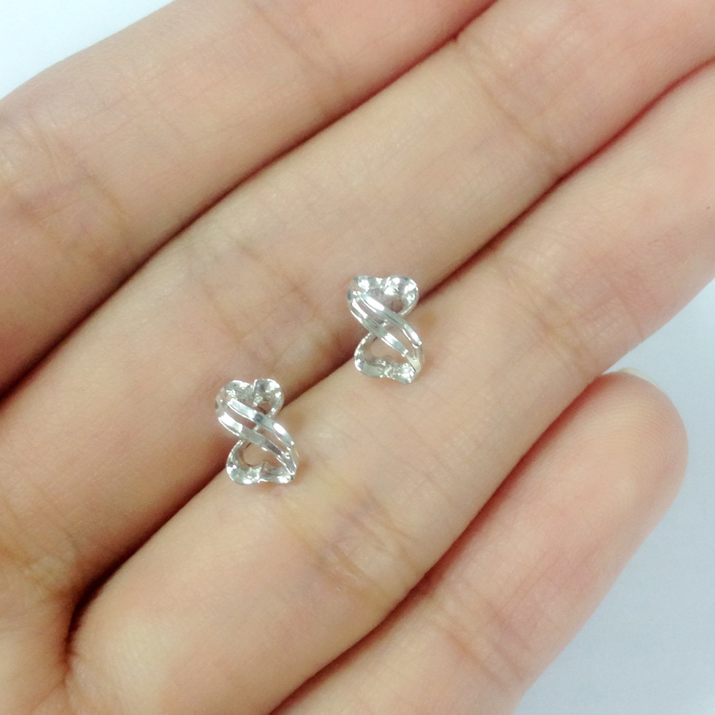 14K White Gold Gift Diamond-Cut Infinity Stud Earrings Jewelry For Couple C05685E