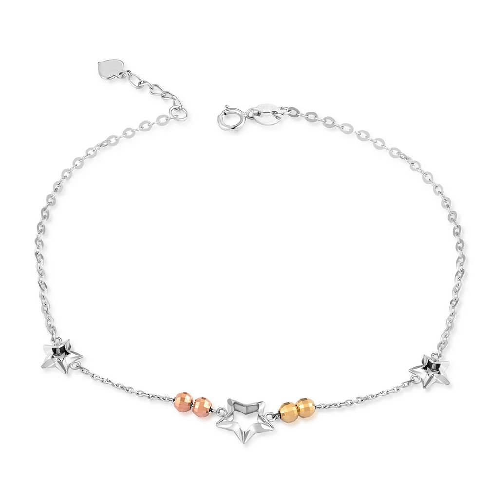 14K Tri-Color Gold Cut-out Stars and Diamond-Cut Beads Anklet (23cm) C04957K