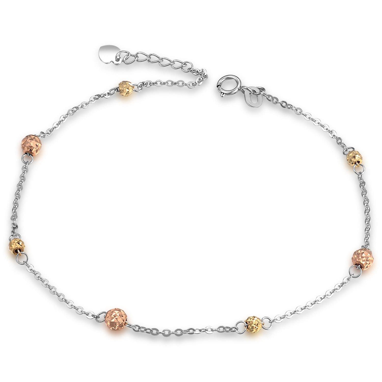 14K Tri-Color Gold Diamond-Cut Beads Anklet (23cm) B05881K
