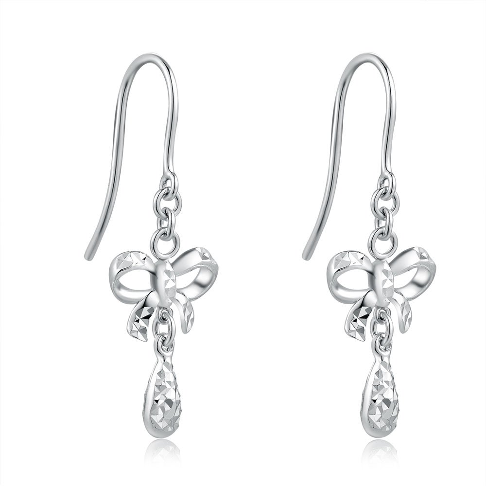 14ct Italian White Gold Box and Teardrop Dangle Earrings C04377E