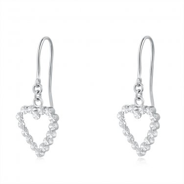 14ct Italian White Gold Hollow Heart Dangle Earrings C04126E