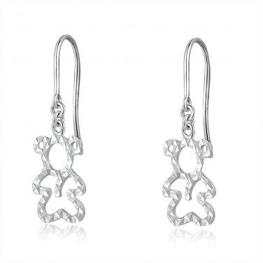 14ct Italian White Gold Cut-out Teddy Bear Dangle Earrings C04832E