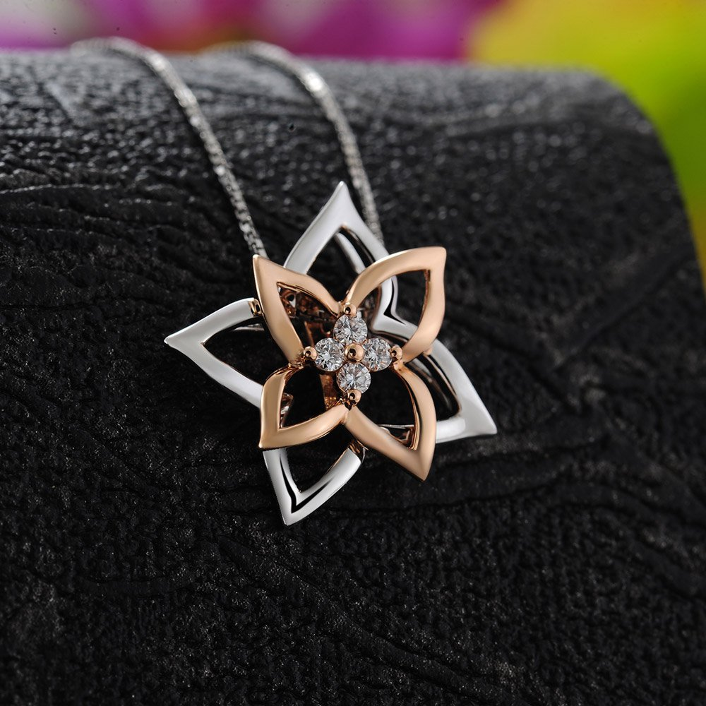 0.11cttw Diamond 18K Rose White Gold Flower Pendant on 925 Silver Necklace Jewelry Gift S08327P