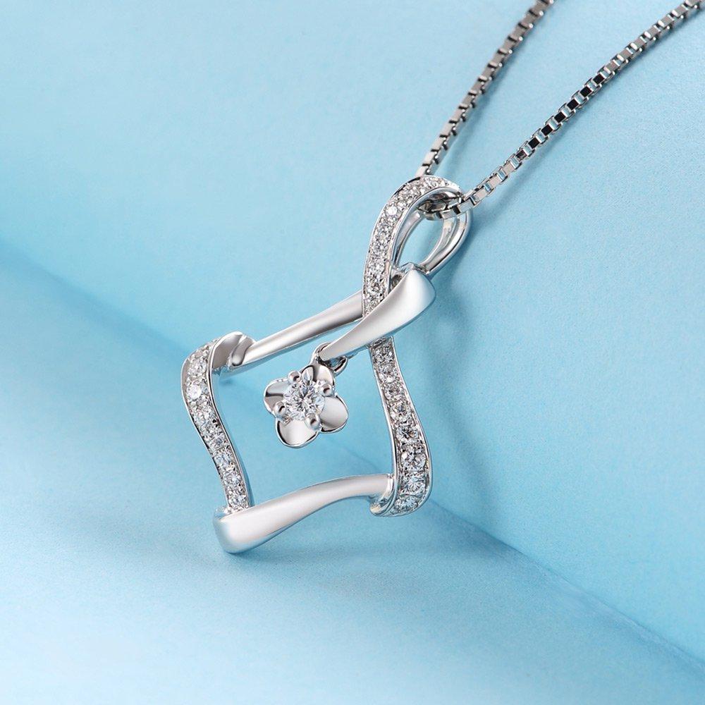 0.17cttw Diamond 18K White Gold Infinity Twist Rhombus Pendant 925 Chain N03193P