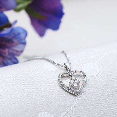 0.19cttw Diamond 18K White Gold Twist Heart Rhombus Dangle 925 Silver Necklace Jewelry Gift S06462P