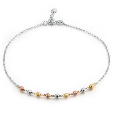 14K Tri-Color Gold Diamond-Cut Small Beads Anklet (23cm) B05862K