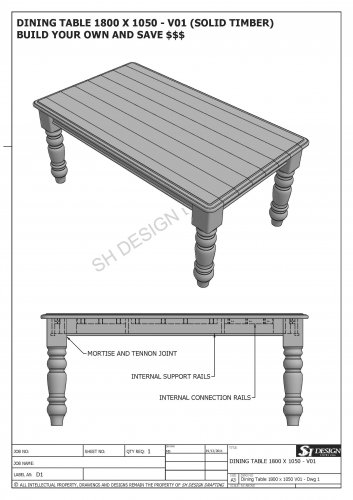 SOLID TIMBER DINING TABLE 2100 X 1050 - Make Your Own & SAVE HEAPS $$$ (Full Plans 2D & 3D)