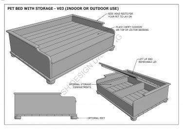 DOG & CAT - PET BEDS - MANY SIZES - Build Your Own - Full Building Plans 2D & 3D
