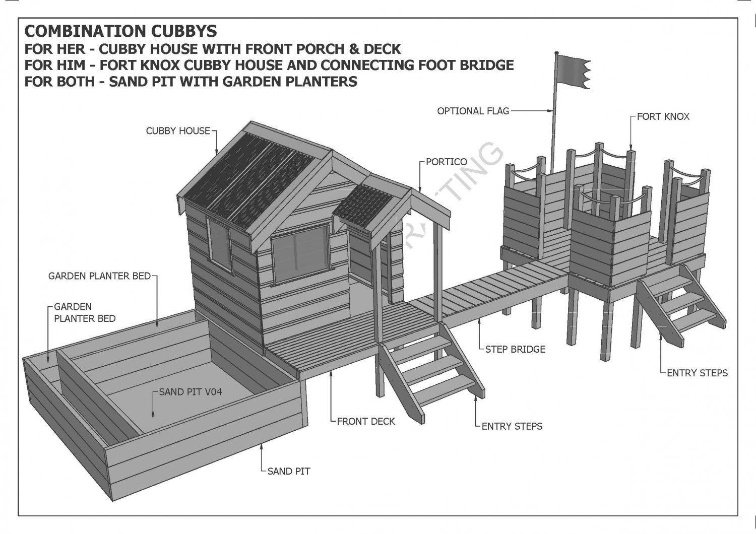 Cubby house fort sand pit combo build with your kids for Build as you go house plans