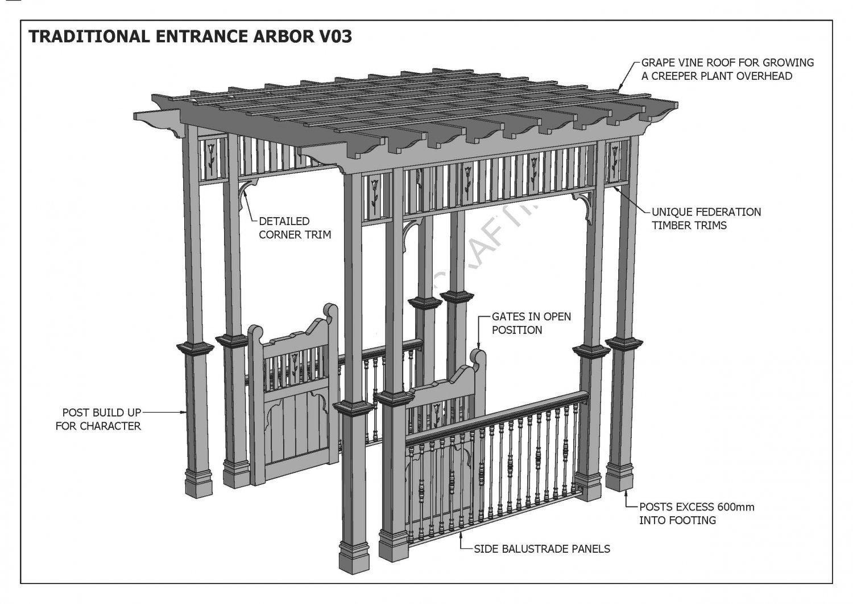 Grape Vine Entrance Arbor With Gates Balustrade V3