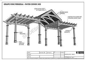GRAPE VINE OUTDOOR PERGOLA - PATIO COVER VERANDA V3 - Full Building Plans