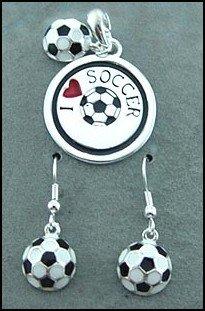 Soccer Pendant & Matching Earrings