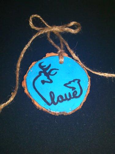 Buck & Doe Turquoise Rustic Wood Ornament (EC00)