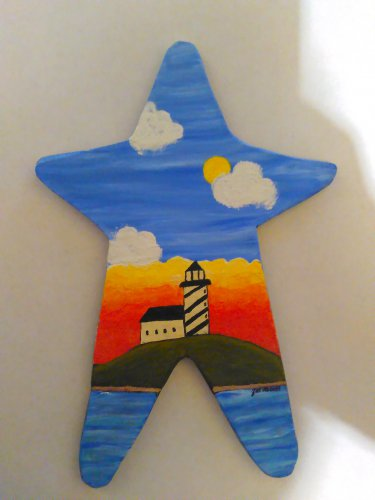 Primitive Rustic Wood Star Cutout Painting OOAK (EC009)