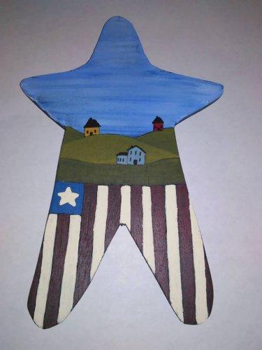 Primitive Rustic Wood Star Cutout Painting OOAK (EC006)