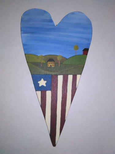 Primitive Rustic Wood Heart Cutout Painting OOAK (EC007)